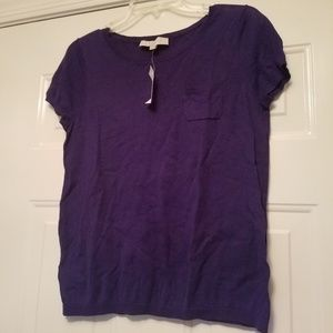 Loft New Purple short sleeve t shirt M with pocket